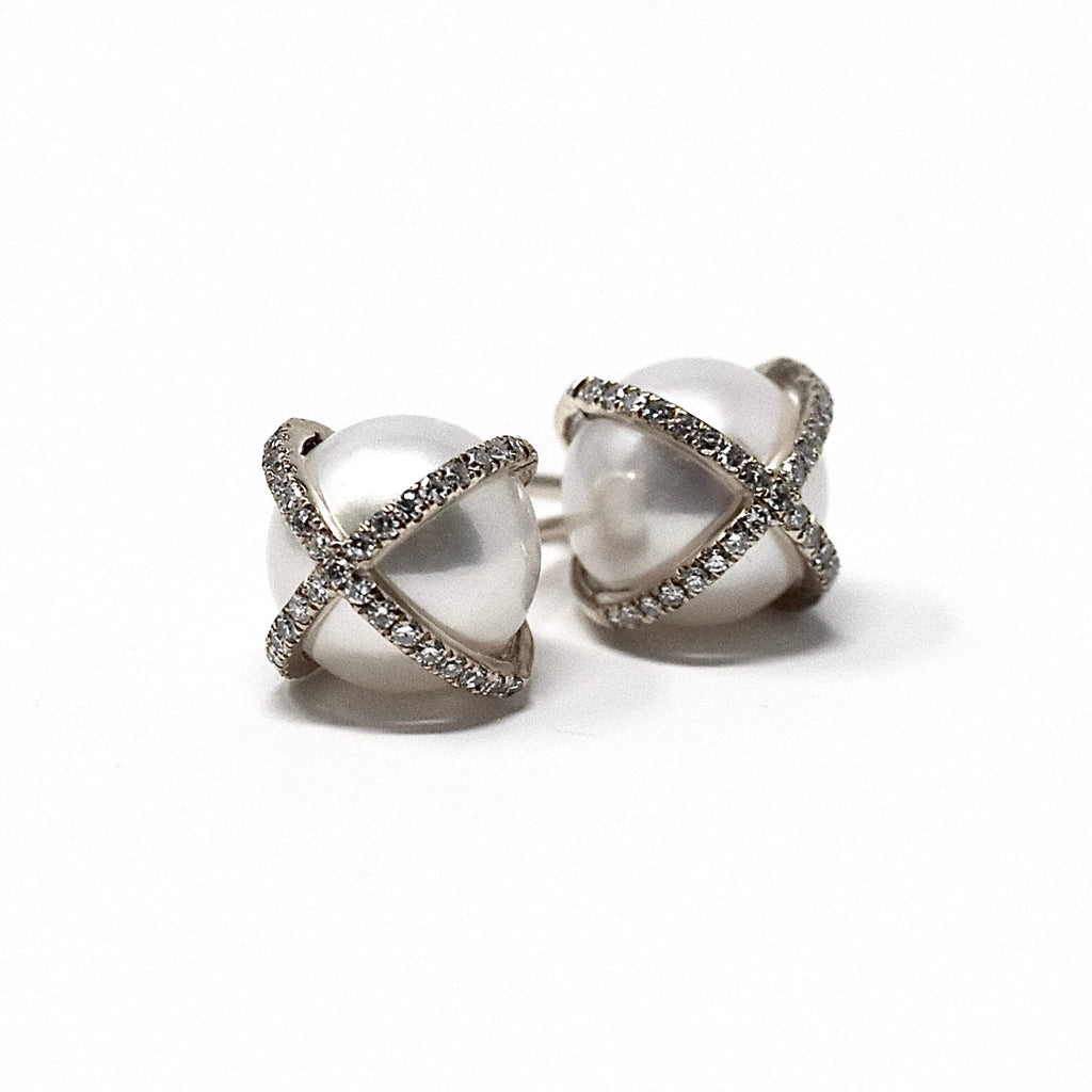 JL Rocks Fine Jewelry, Pearl Studs with X Cross Earrings in White Gold