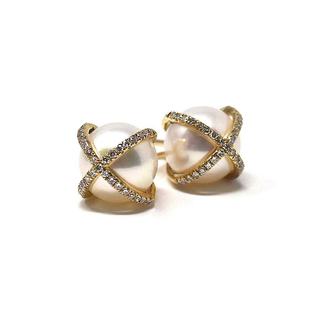 JL Rocks Fine Jewelry, Pearl Studs with X Cross Earrings in Yellow Gold