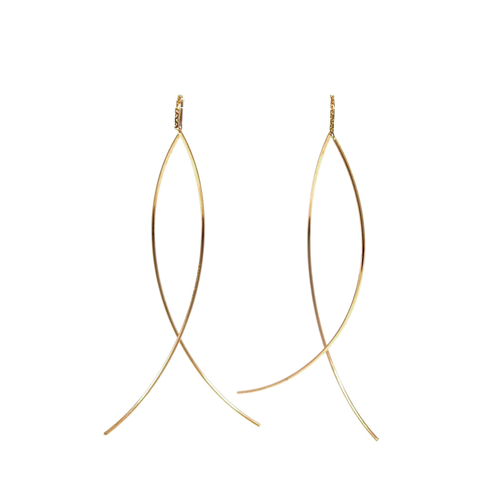 JL Rocks Fine Jewelry, Threader Earrings in Yellow Gold