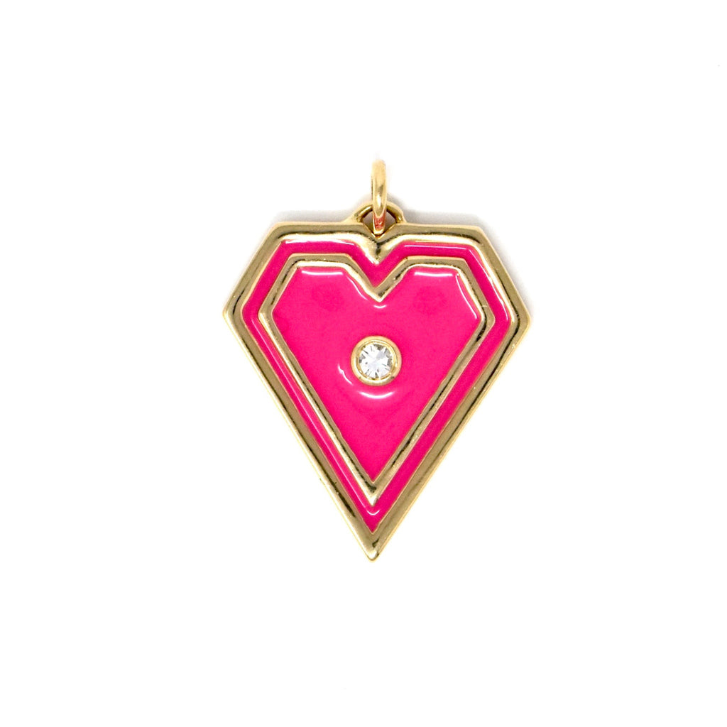 JL Rocks Fine Jewelry, Brave Heart Charms in Fuschia