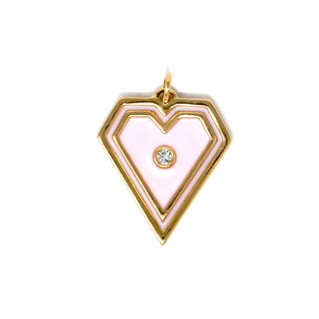 JL Rocks Fine Jewelry, Brave Heart Charms in Pale Pink