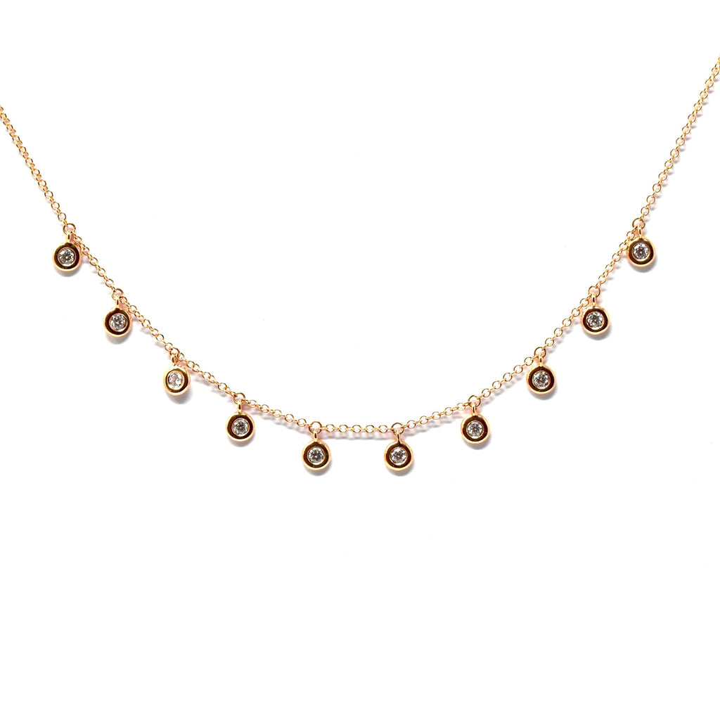 JL Rocks Fine Jewelry, Deluxe Droplet Necklace in Rose Gold