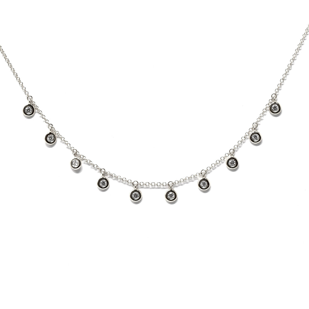 JL Rocks Fine Jewelry, Deluxe Droplet Necklace in White Gold