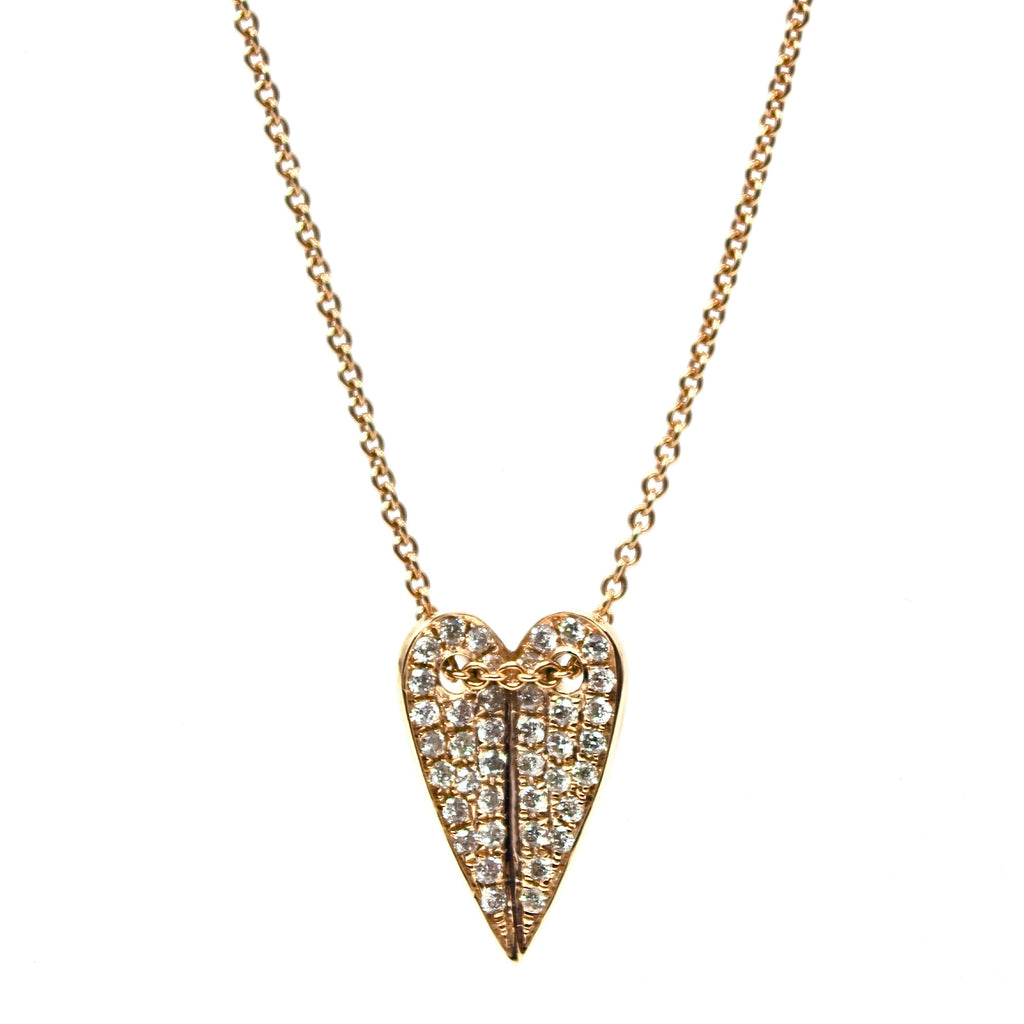 JL Rocks Fine Jewelry, Folded Heart Necklace in Yellow Gold