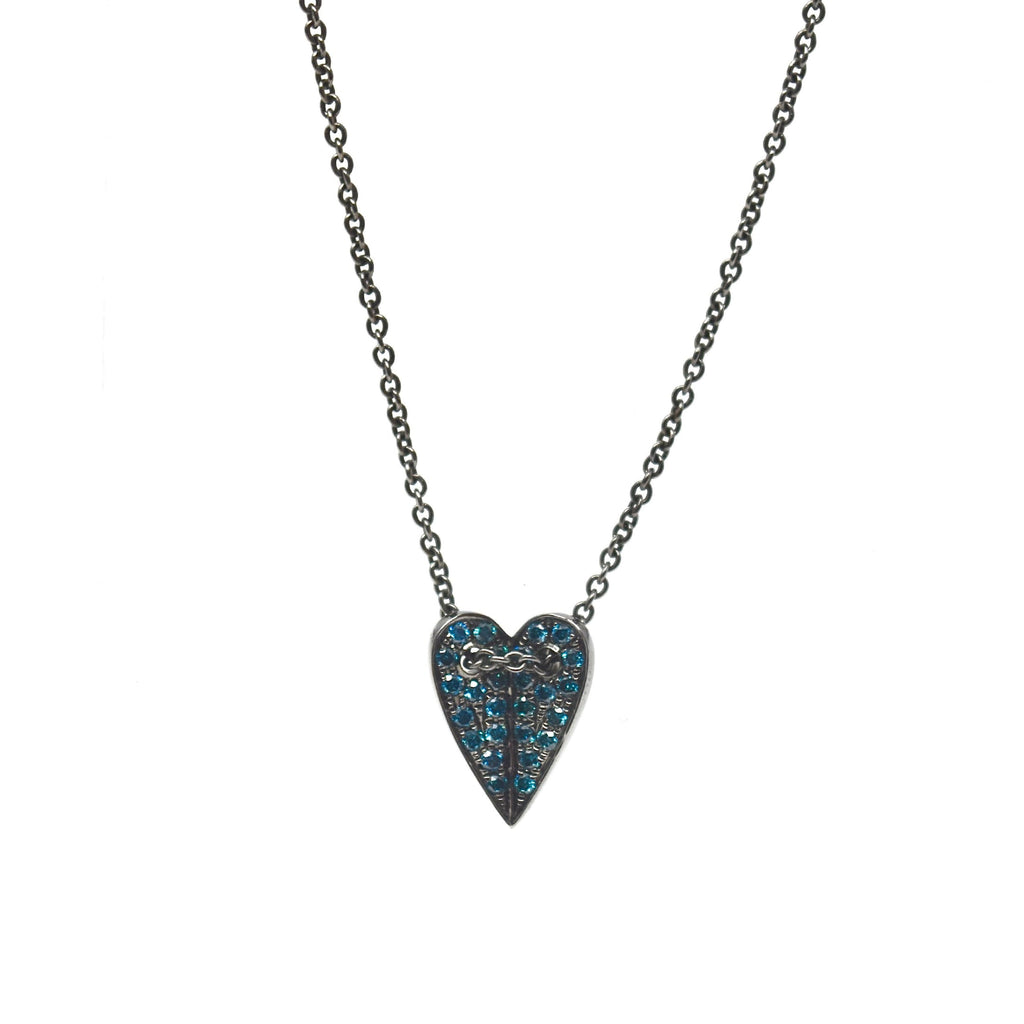 JL Rocks Fine Jewelry, Mini Folded Heart Necklace in Blue Diamond + Black Rhodium