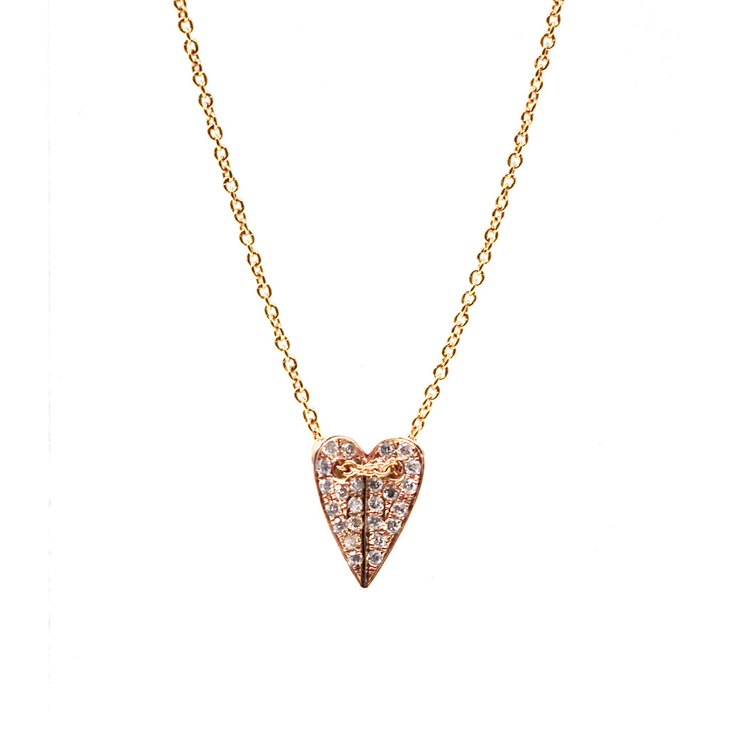 JL Rocks Fine Jewelry, Mini Folded Heart Necklace in Rose Gold