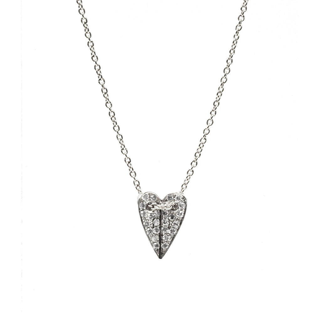 JL Rocks Fine Jewelry, Mini Folded Heart Necklace in White Gold
