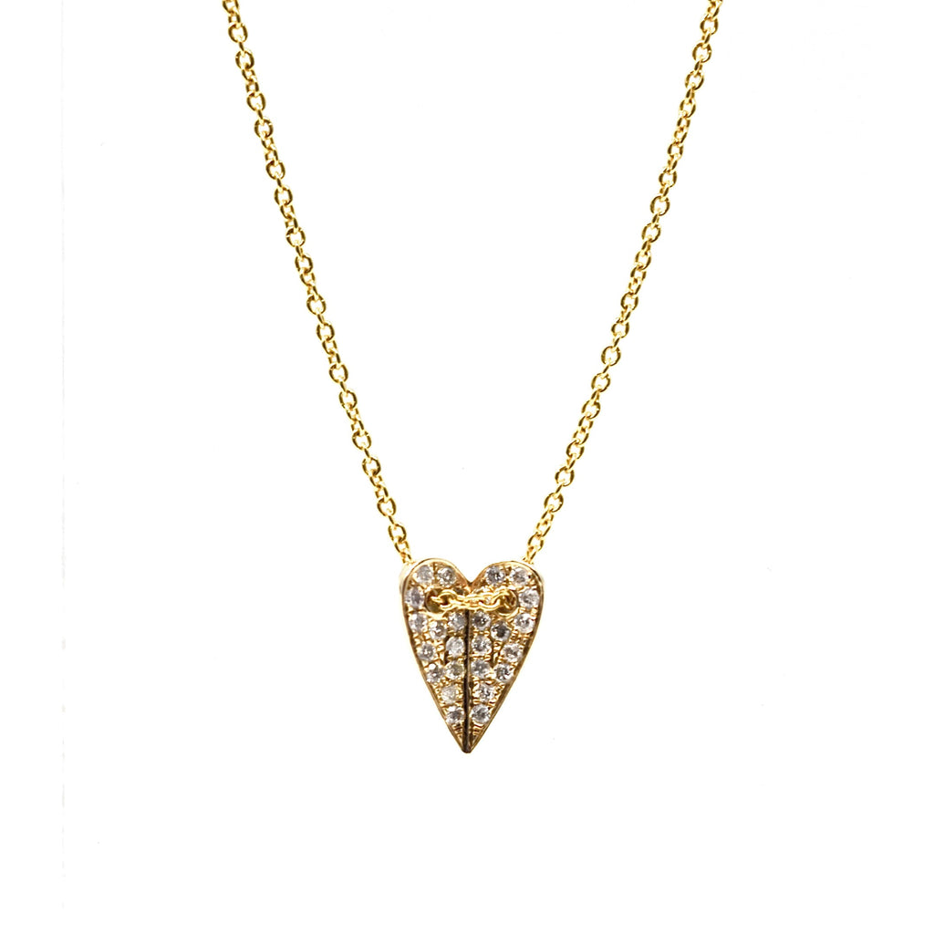 JL Rocks Fine Jewelry, Mini Folded Heart Necklace in Yellow Gold