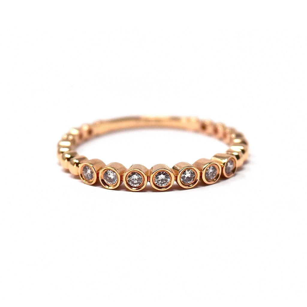 JL Rocks Fine Jewelry, Deluxe Caviar Band Ring in Rose Gold