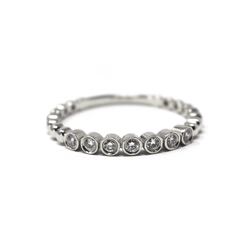 JL Rocks Fine Jewelry, Deluxe Caviar Band Ring in White Gold