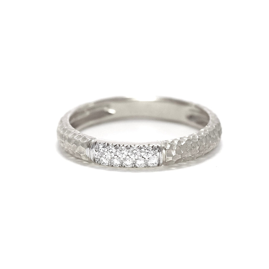JL Rocks Fine Jewelry, Hammered Band Ring in White Gold