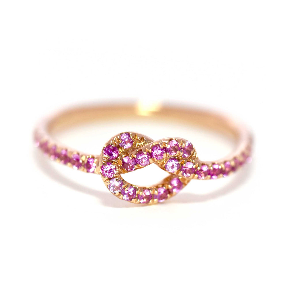 Rose Gold with Pink Sapphires Love Knot Ring
