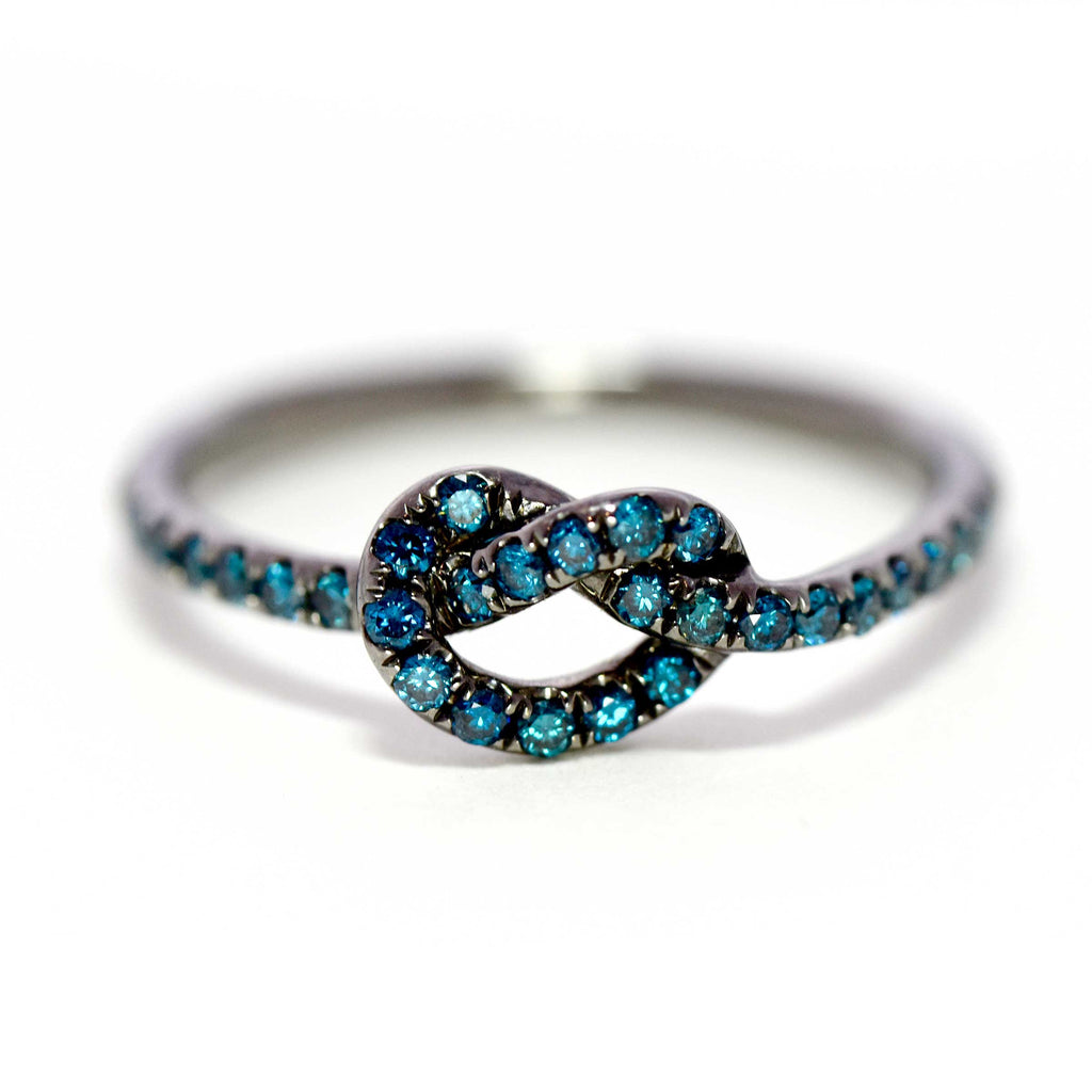 Rhodium with Blue Diamonds Love Knot Ring