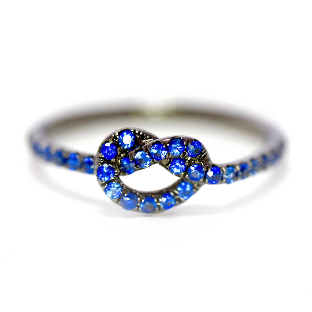 Rhodium with Blue Sapphires Love Knot Ring