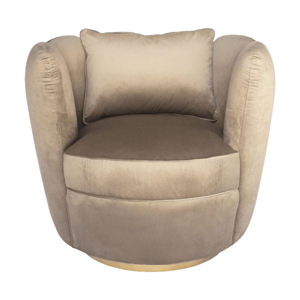 Taupe swivel tulip velvet armchair with gold base and matching cushion | Velvet occasional chairs and seating, Perth WA