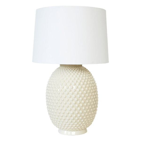 Oversized off white ceramic table lamp with white nodules throughout with white linen shade | Table & floor lamps, Perth WA