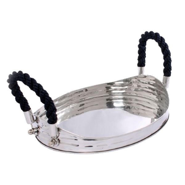 Round silver drinks tray with blue rope handles | Barware, serving tray, drinks tray, kitchen - Perth, WA