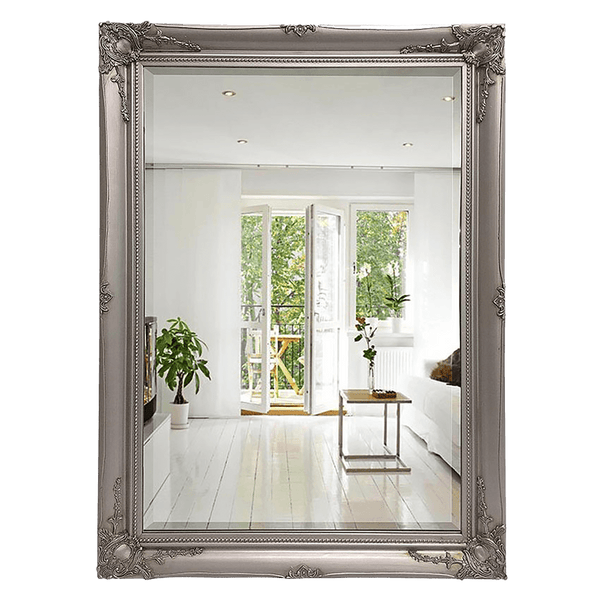 Rectangular mirror with a brushed silver frame and Victorian flourishes and detailing | Furniture & Homewares | Perth, WA
