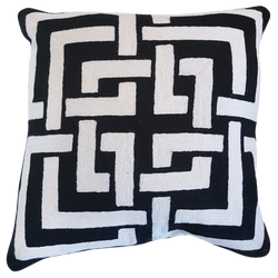 Black and white embroidered cushion 60x60cm | Luxury cushions & homewares - Perth WA