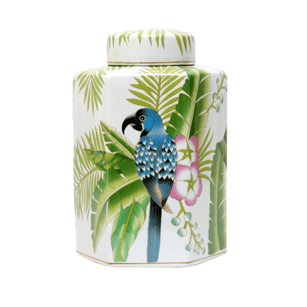White hexagon ginger jar with tropical palm tree, flower and parrot detailing | Ginger jars, temple jars, canisters - Perth, WA