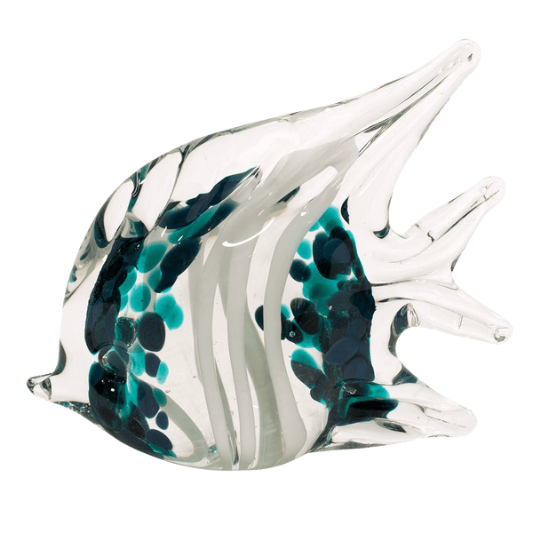 Glass angel fish with teal and white stain detailing | Hamptons style ornaments - Perth, WA