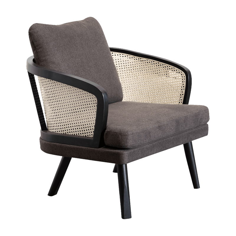 Smoked brown linen armchair with black oak & rattan backrest | Luxury armchairs & occasional chairs - Perth WA