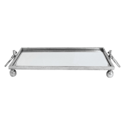 Silver wrought iron tray with glass mirror base | Serving trays, serving ware & kitchen - Perth WA