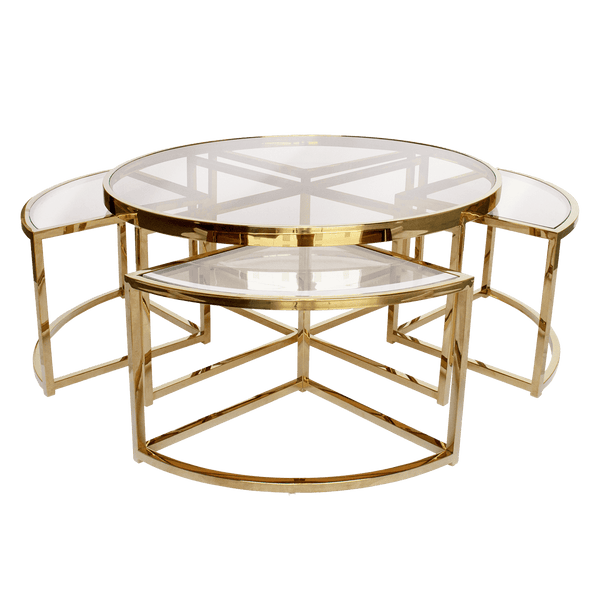 Perugia nesting coffee tables, gold & clear glass | Darcy & Duke, Perth WA