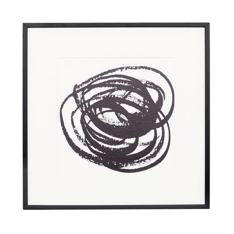 Black and white abstract art piece featuring circular brushstrokes | Framed artwork - Perth WA