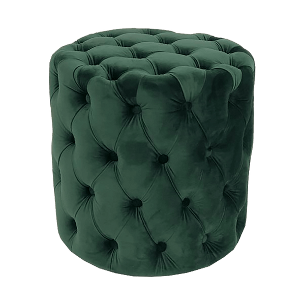 Round emerald green velvet stool with tufted button detailing on the sides and top | Luxury velvet ottomans & stools - Perth, WA