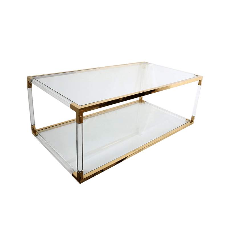 Acrylic coffee table with a bottom shelf & gold edges and joins | Coffee Tables + Side Tables Perth WA
