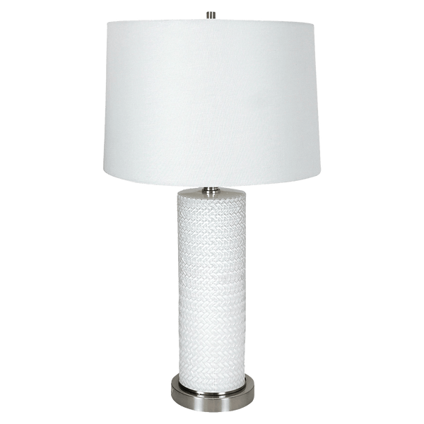 White ceramic cylindrical table lamp with white linen shade | Table lamps and lighting - Perth, WA