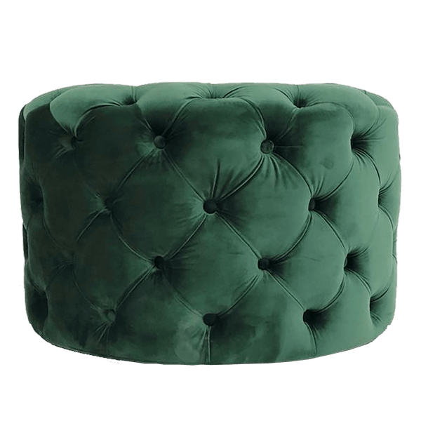 Round green velvet Greco-Roman style ottoman with tufted button detailing | Luxury velvet ottomans - Perth, WA