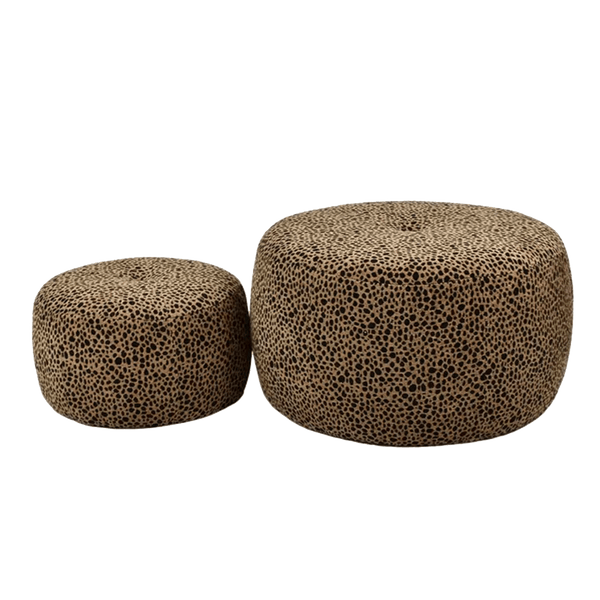 Set of 2 round leopard print ottomans | foot stools & poufes - Perth WA