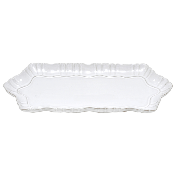 White rectangle ceramic plate/tray with antique style detailing on the edges | Serving trays and platters - Perth, WA