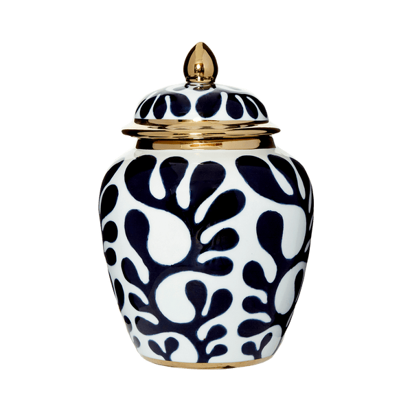 White porcelain temple jar featuring a dark blue floral pattern and gold edging on the lid and base | Chinese ceramics & Home Decor - Perth WA