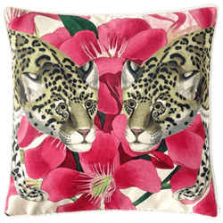 Square velvet cushion with leopard & pink flower detailing | Perth WA