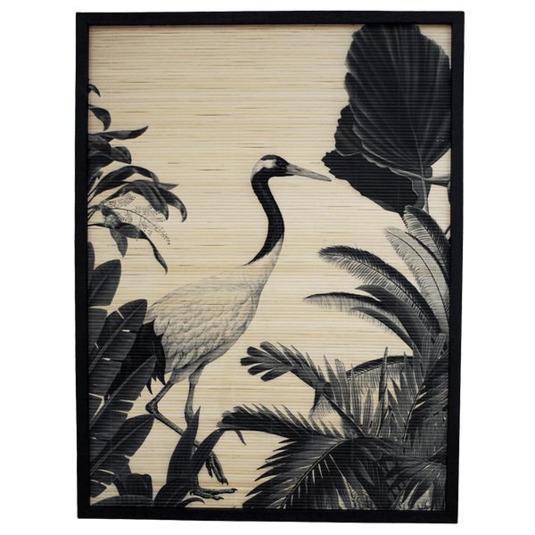 Monochrome stork in tropical garden printed on bamboo | Bird art, tropical art, art work - Perth, WA