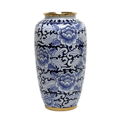 Ceramic Meiping vase with blue flower detailing and gold edging | Vases, jars, decorative accessories - Perth, WA