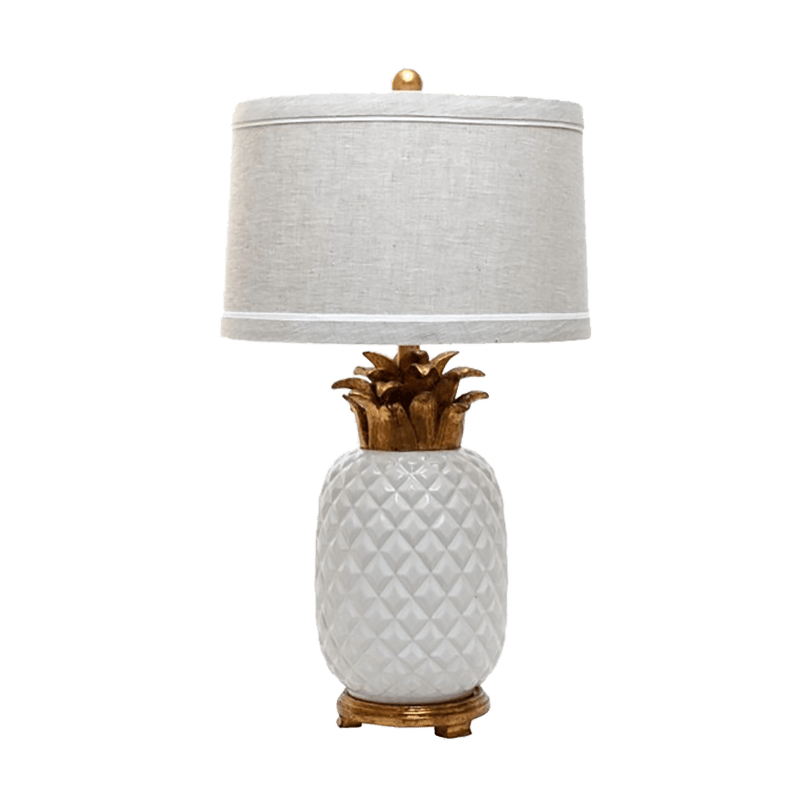 White pineapple lamp with bronze leaves, base and a grey lampshade | Luxury lighting - Perth WA