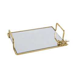 Serving tray with a mirrored base and gold frame and handles | Luxury serveware & platters - Perth WA