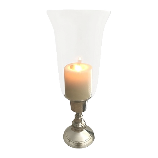 Glass hurricane with antique style silver base | Candle holders, hurricanes, lanterns - Perth, WA