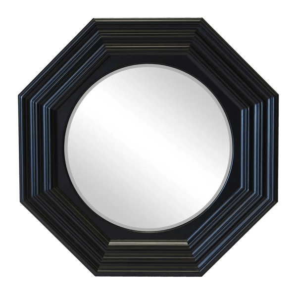Round mirror set in black gloss wooden octagon frame | Decadent mirrors - Perth WA