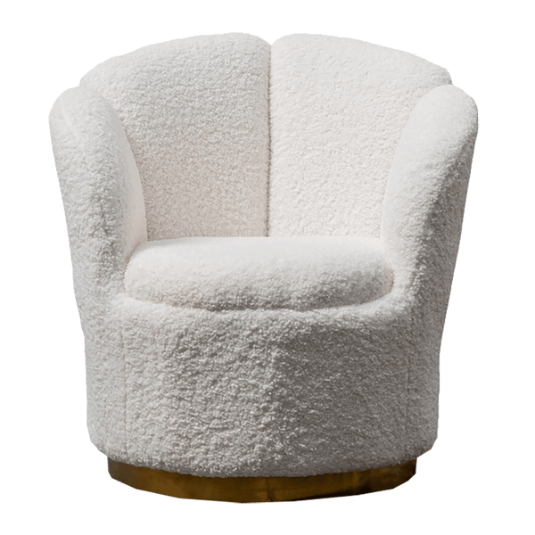 White woolen tub chair, brass base | Luxury arm & occasional chairs, Perth WA