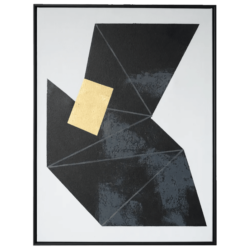 Black, white and gold geometric abstract art frame | Art & framed canvases - Perth WA