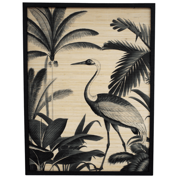 Black and grey stork and tropical plants and palms printed onto bamboo | Bird art, artworks, art pieces - Perth, WA
