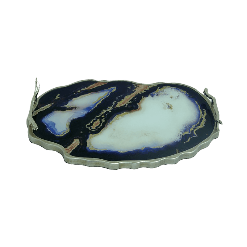 Blue & white marble serving tray with silver edging & handles | Trays & Serving Ware - Perth WA