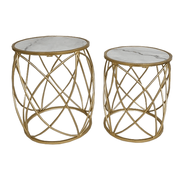 Set of 2 side tables with gold frame base with circular detailing and white marble top | Tables, coffee tables, side tables - Perth, WA
