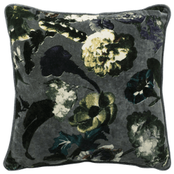 Grey cushion with floral patterns | Velvet cushions Perth WA