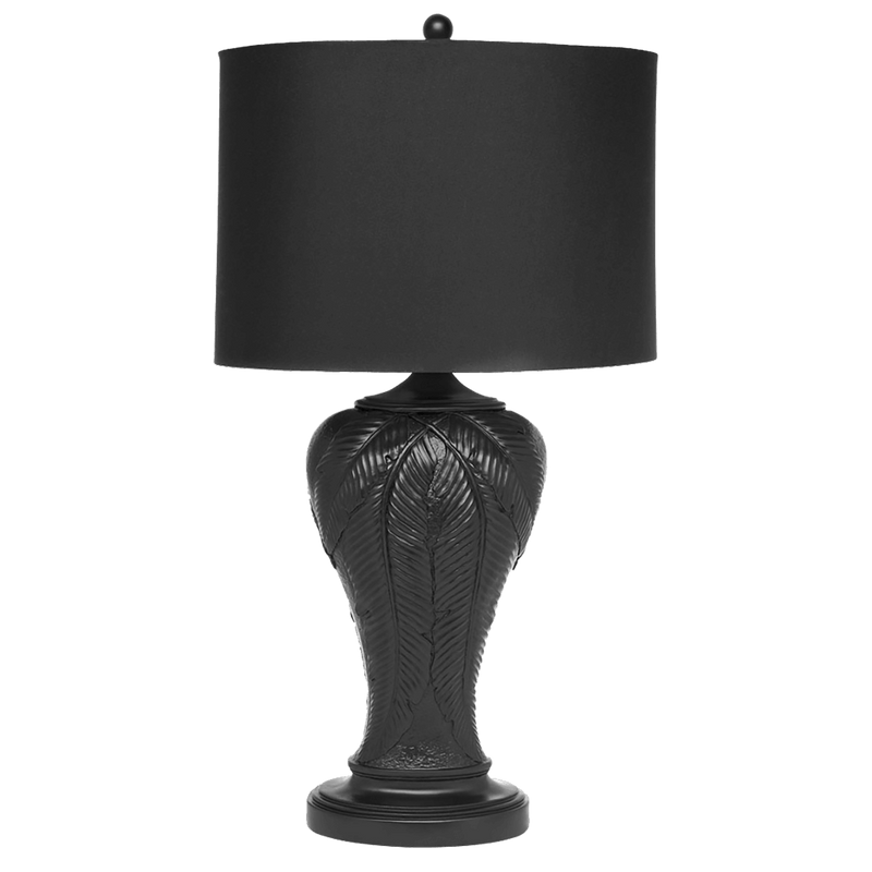 Matte black palm leaf motif table lamp with black linen shade | Table & floor lamps, Perth WA